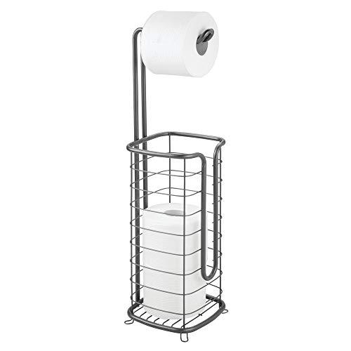 mDesign Portarrollos para baño sin taladro – Portarrollos de pie autónomo – Soporte para papel higiénico inoxidable con capacidad para cuatro rollos – gris oscuro