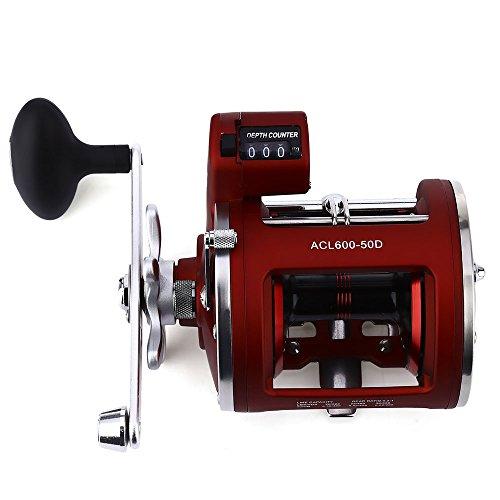 Carrete de pesca para mano izquierda o derecha, 12 rodamientos con rueda frontal de pesca con contador de profundidad eléctrico 30D/50D