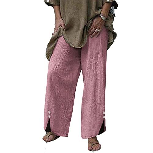 Pantalones De Playa Sueltos Casuales De Moda para Mujer Pantalones Casuales De Pierna Ancha con Botones De Color SóLido