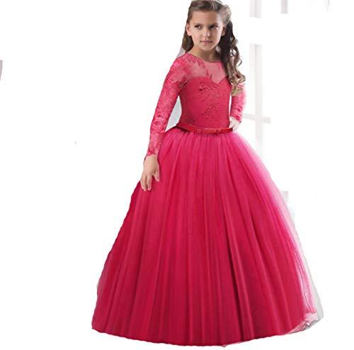 Blumenmädchen Erstkommunion Kleid Spitze Mesh Langarm Maxi Prom Party Ballkleid,C,160CM