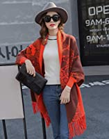 XinQing-ファッションスカーフ ショールスカーフ二重使用厚いウォームスリーブ多機能クローク韓国のタッセルのクロークジャケット女性 (Color : B)
