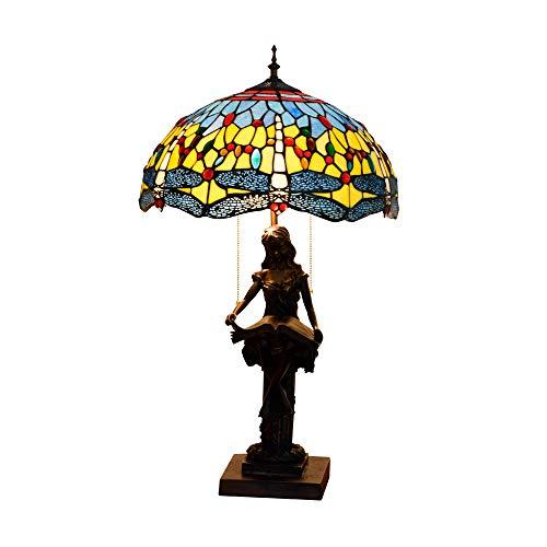 Blivuself 40CM del vitral de Tiffany lámpara de mesa azul de la libélula del vitral Sala Comedor lámpara de cabecera