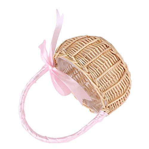 HEMOTON, cestino da picnic in rattan intrecciato con manici per matrimoni, feste di Pasqua, cestino in vimini intrecciato per composizioni floreali, decorazione per foto