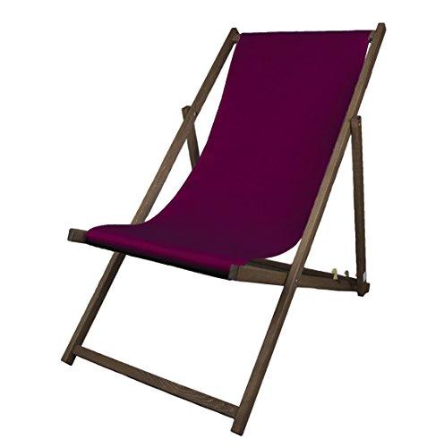 MultiBrands Liegestuhl, Holz, Aubergine ohne Armlehne mit dunkelbrauner Lasur, klappbar