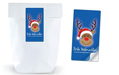 30 Papiertüten Adventskalender Weihnachten WEIß 17 x 26 cm + 30 Aufkleber Etikett rechteckig HIRSCH RENTIER RUDOLF BLAU FROHE WEIHNACHTEN • Weihnachtsverpackung Verpackung