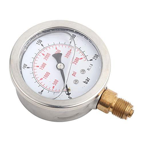 Ivaank Manómetro, 0-250Bar 0-3750PSI G1/4 Medidor de presión de Agua hidráulica con dial de 63 mm