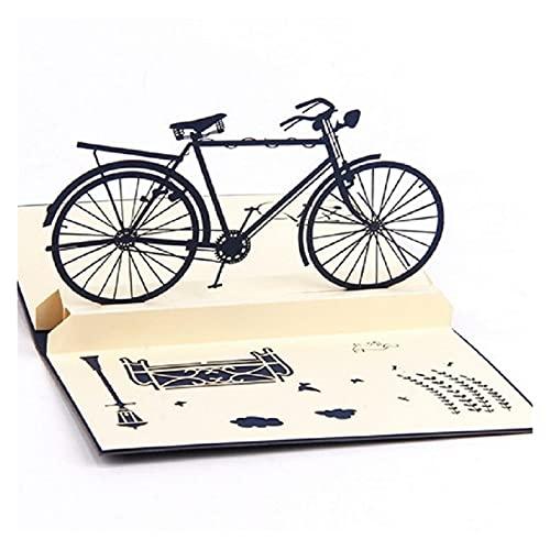 XUFAN Pop-up 3D Hecho a Mano Tarjeta Retro Bicicleta Vintage Regalo Creativo Postal Tarjeta de felicitación Amante de cumpleaños Tarjeta de Regalo (Color : 1Pcs)