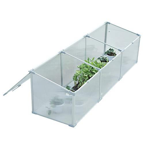 Outsunny Invernadero de Jardín Exterior Aluminio Policarbonato Transparente Vivero Casero para Plantas Cultivos Protección UV y Resistente