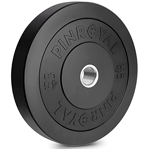 PINROYAL Bumper Plate 45LB, Olympic Weight Plate with 2 inch Stainless Steel Hub, Rubber Barbell Weights to Protect Floor, Smooth Strength Training Plate to Protect Bar from Scratches, Single.