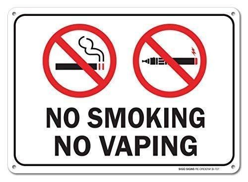 TammieLove Señal de Advertencia de no Fumar ni vaporizar, para Garaje, Patio de casa, 8 x 12 Pulgadas