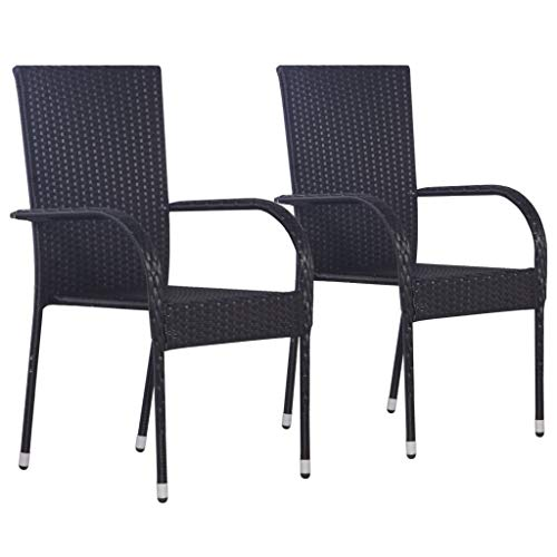 vidaXL 2x Outdoor Stacking Dining Chairs Poly Rattan Black Furniture Seat