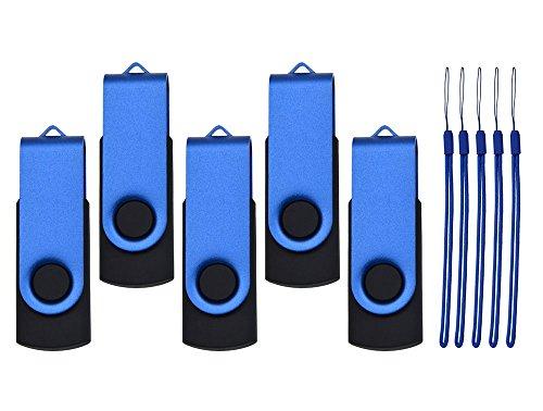 Pendrive 16GB 5 Piezas Memorias USB 2.0, Buena Relación Calidad Pen Drive 16 GB Portátil Flash Drives, Kepmem Funcional Azul Memorias Externo Stick 16 Giga Almacenamiento de Datos para Guardar Videos