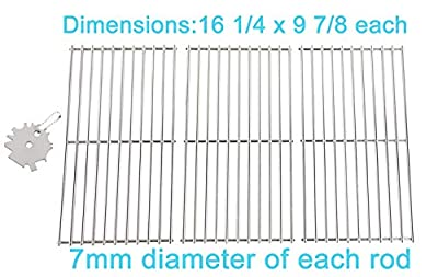 16 1/4'' Stainless Steel Cooking Grid Grates for Backyard Grill BY12-084-029-98, BY13-101-001-13, BY14-101-001-04, Uniflame GBC1059WB, GBC1059WB-C, GBC1059WE-C, GBC1069WB-C, 3PCS