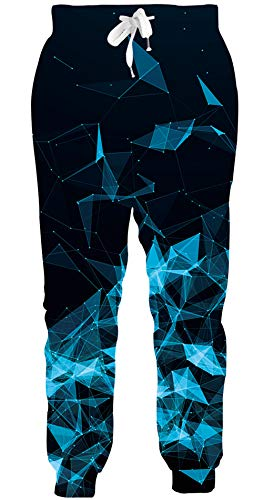 Loveternal Pantalones 3D Impresos Divertidos Ocasionales Geometric Sweatpants Pants para Hombres XXL