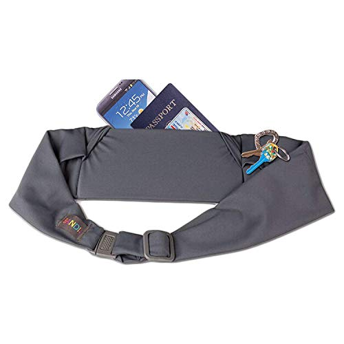 BANDI Large Travel and Running Belt, Securely Carry Keys, Phone, Medicine, Money or Food While You Exercise or Travel Within Its Sleek 3 Pocket Design, Size 7.5 Inch by 3.5 Inch Grey One Size