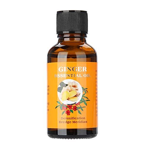 Huile de massage pour le corps, 30 ml d'huile essentielle de massage au gingembre hydratante, convient à l'abdomen, à la taille, aux hanches et aux jambes et au lifting de la peau du corps