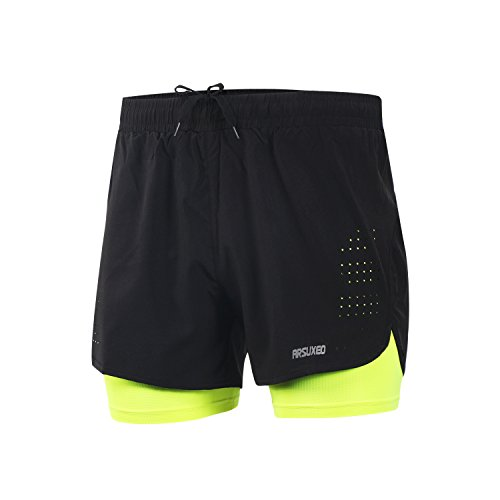ARSUXEO Mens Running Shorts 2 in 1 Compression Shorts Breathable Gym Work Shorts with Pocket B179 Green XL