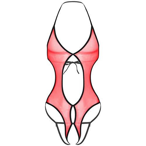 Alvivi Herren Sissy Unterwäsche Mesh Transparent Bodysuit Unterhemd MännerBody Ouvert Slips Stringbody Sissy Dessous Reizwäsche Rot Einheitsgröße