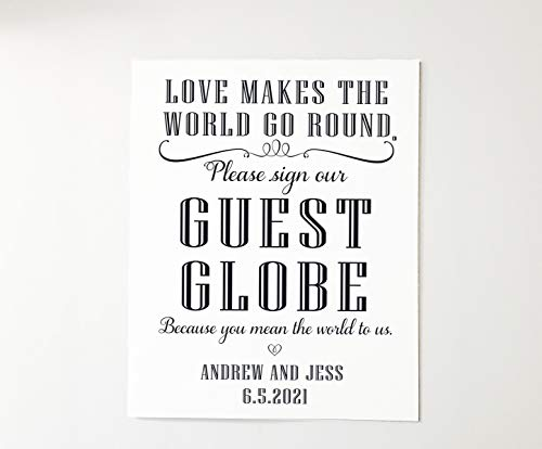 Love makes the world go round. Please sign our Guest Globe 8x10 Wedding Sign. Alternative Guest Book Sign Customize for you. non refundable
