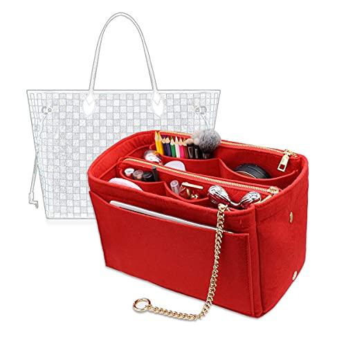 3 in 1 Felt Purse Organizer Insert Bag in Bag with a Bottle Holder Shaper 8026 Red XL