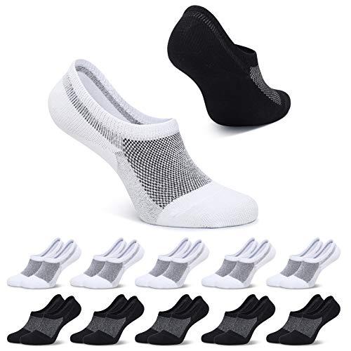 FALARY Füsslinge Damen 39-42 Schwarz Weiß Kurze Socken 10 Paar Sneaker Socken Herren Füßlinge Unsichtbar No Show socks Sneakersocken