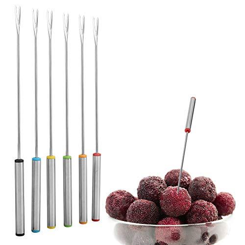 Tenedores para Fondue, 6 piezas Horquillas para fondue Pincho de servicio de postre de acero inoxidable, Utensilios de cocina Vajilla para queso Carne Chocolate Postre