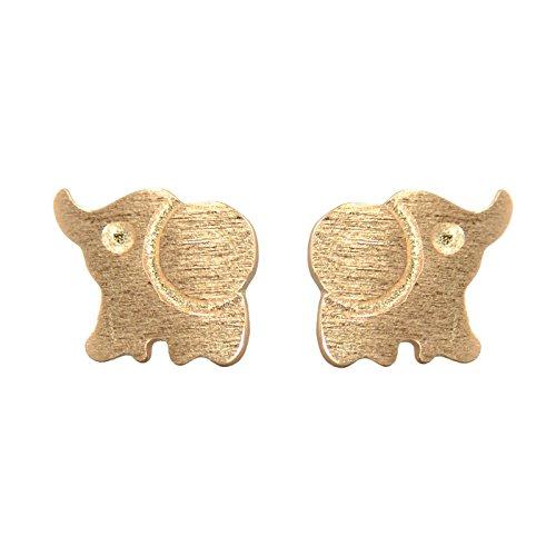 Paialco Pendientes de plata de ley 925 con diseño de elefante, tamaño pequeño, chapado en oro rosa