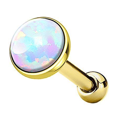 Piercingfaktor Tragus Piercing Helixpiercing Helix Ohr Cartilage Knorpel Stecker mit flachen Opal Steinen Rund Gold Weiß 3mm