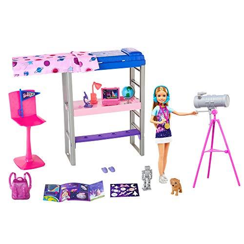 Barbie Stacie y su habitación espacial Muñeca con set de juego de habitación, perrito mascota y accesorios de juguete (Mattel GTW33)