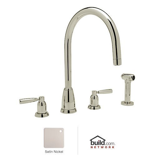 Best Price Rohl U.4891LS-STN-2 Perrin and Rowe Widespread Kitchen Faucet with Metal Lever Handle, Sa...