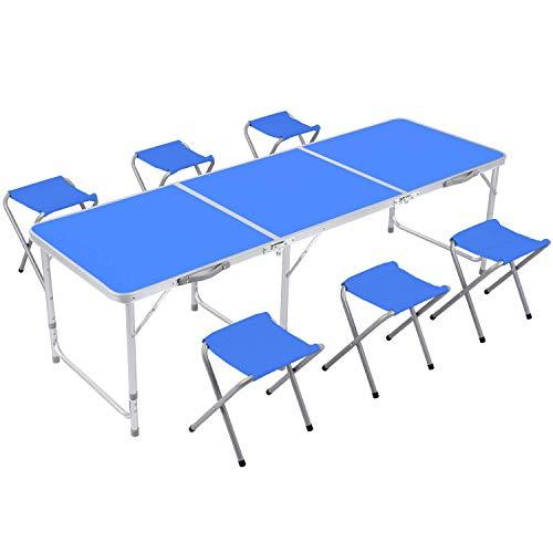 Table de Camping Pliable Table de Jardin avec chaises Table Pliante Table Pliante en Aluminium, réglable en Hauteur 180x60cm (Bleu)