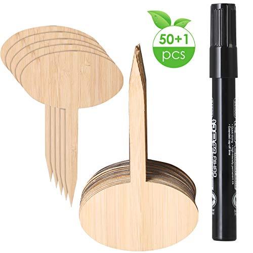 SunshineFace 50 Stks Bamboe Plant Zaad Labels Moestuin Markers Kwekerij Tuinplanten Tags Met Een Pen