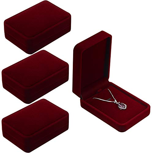 Velvet Necklace Pendant Case Jewelry Gift Boxes for Wedding Christmas Thanksgiving Birthday, Jewelry Showcase Displays, Wine Red, 3.94 x 2.75 x 1.37 Inches (4 Pieces)