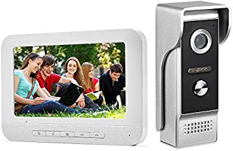 AMOCAM Video Intercom System, 7 Inches Monitor Wired Video Door Phone Doorbell Kit, IR Night Vision Camera Door Intercom, Support Unlock, Monitoring, Dual-Way Intercom for Home Video Surveillance