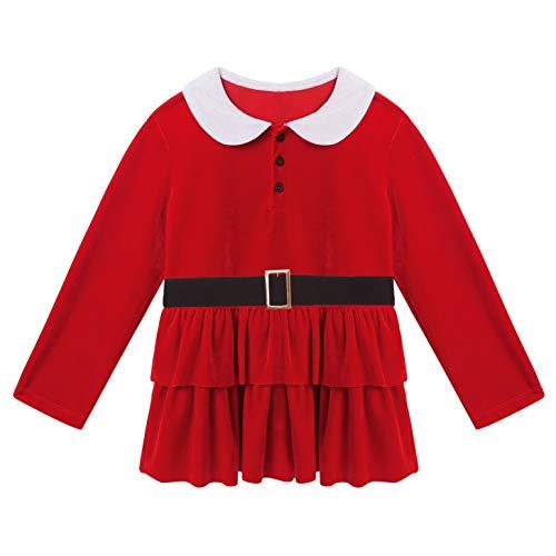 Freebily Vestidos para Niñas de Navidad Vestido de Niña Santa Claus Vestido Navidad Niña Fiesta Disfraces para Niñas Elegantes Infantil Ropa para Niña Rojo 7-8 años