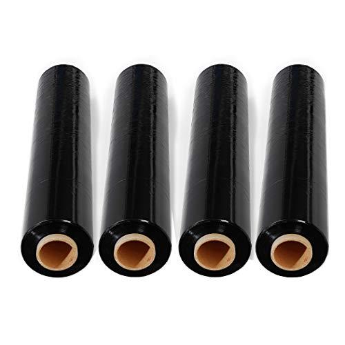 4 Rolls 18 inch x 1500 Feet Stretch Wrap 80 Gauge Heavy Duty Shrink Film, Extra Strong 18 inch Black Hand Stretch Wrap, Pack of 4 Rolls