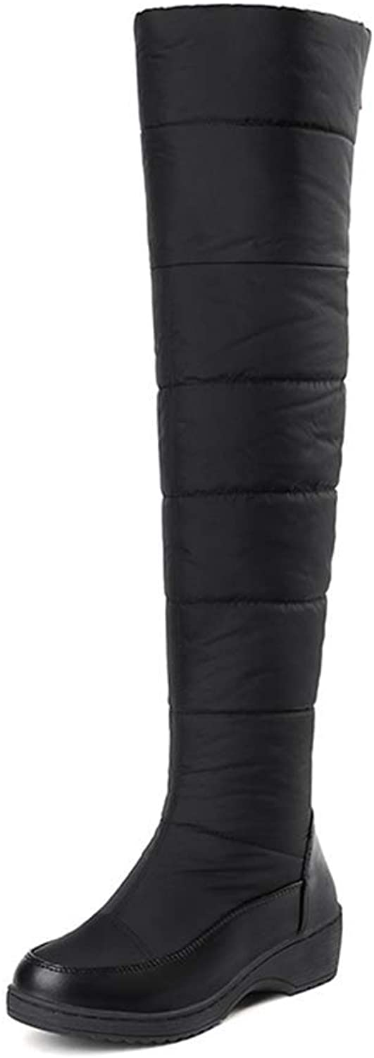 Webb Perkin Women Round Toe Zipper Waterproof Sexy shoes Black Down Snow Boots Winter Lady Over-The-Knee Boots Middle Heel