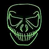 Queta LED Máscaras de Halloween, con luz fría EL, Halloween Mascaras, Craneo Esqueleto Mascaras, para Navidad/Halloween/Cosplay/Grimace Festival/Fiesta Show/Mascarada (sin batería) (verde)