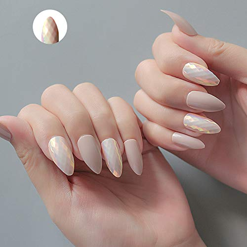 Press on Stiletto Nails Chrome Fantasy Ultimate Diamond Fake Nail Tip, Full Cover Natural Artificial Nails 24 Nails,Nude