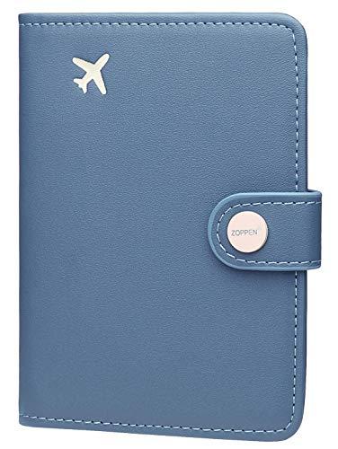 Zoppen Passport Cover for Women Travel Wallet Passport Holder Cover Slim Id Card Case (#18 Denim Blue)
