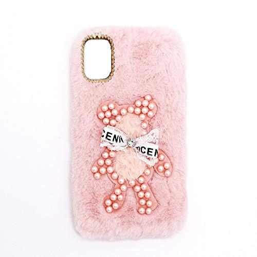 YHY Funda Teléfono Pearl Bear Plush para Samsung Galaxy S21 FE Carcasa De Felpa De Silicona Suave y Elegante La Piel Rosado