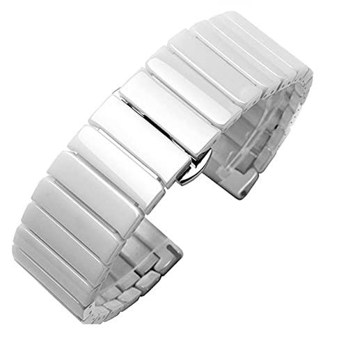 ZXF Correa Reloj, Butterfly Buble One Boda DE RELAJA CERÁMICA CERÁMICA CERÁMICA Pulsera de cerámica Correa de reemplazo extraíble 20mm 22mm Pulsera (Color : White, Size : 22mm)