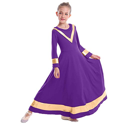 Girls Angel Isis Wings Dresses Angel Costumes Metallic Cape Collar Liturgical Praise Dance Dress Bell Long Sleeve Worship Costume Kids Full Length Gown Purple + Gold 9-10 Years