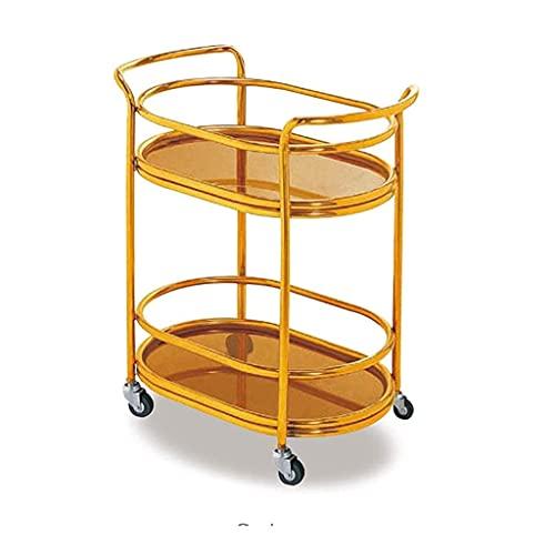 Carrito de servicio de barra de cocina con 4 ruedas giratorias, estante inferior con estante de cocina, muebles de comedor, uso comercial o doméstico, carrito de vino de doble capa oblongo