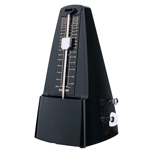 High Accuracy Mechanical Drumer Metronome with Audible Click and Bell Ring for Pianoist, Black