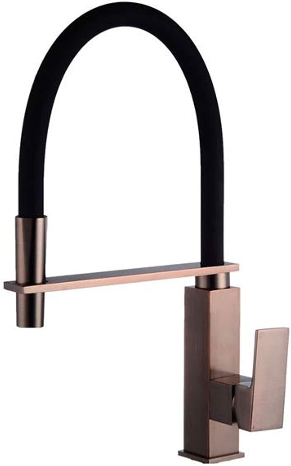 AXWT Water-tap Black Ancient Plating Drawing All Bronze Sink Kitchen Faucet Pull Hose Tap 360° Rinse No Dead Ends Taps