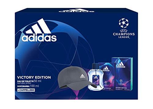 Adidas, Confezione Regalo Uomo UEFA Champions League Victory Edition, Eau de Toilette 50 ml, Dopobarba 100 ml, Cappellino con Visiera