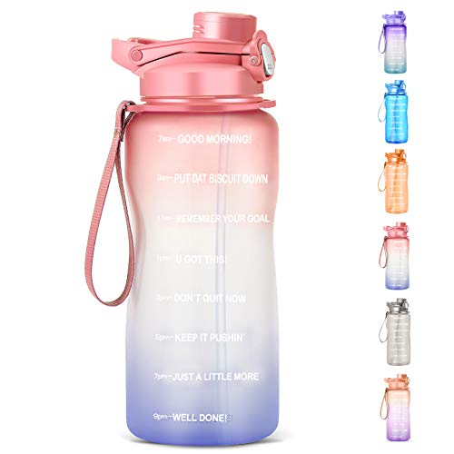 HydMotor Large 64oz/Half Gallon Water Bottle with Straw, BPA Free, Leak-proof, Reusable Half Gallon Water Jug with Motivational Time Marker, Ensure You Drink Enough Water Daily for Fitness, Gym and Outdoor Activities