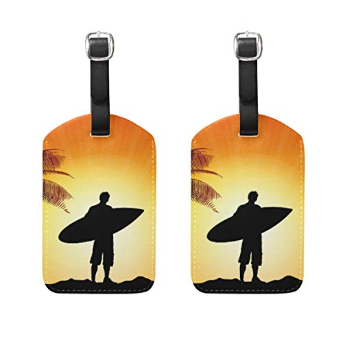 LINDATOP Surfer Silhouette Luggage Tags Bag Travel Labels for Baggage Suitcase 2PCS