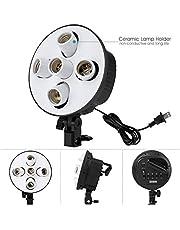 hiffin@ 5 in 1 E27 Photo Studio Bulb Holder Base Socket Lamp Bulb Holder Adapter for Photo Video Studio Softbox Video Light - Black